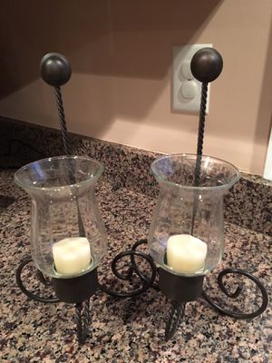 Two clear glass candle holders just as new. for Sale in Fairfax Station, VA
