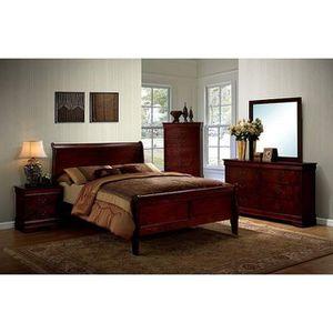 CHERRY FINISH 4 PIECE BEDROOM QUEEN SIZE BED SET NIGHT STAND DRESSER MIRROR / JUEGO RECAMARA 4 PIESAS TOCADOR ESPEJO MESA DE LADO for Sale in Rancho Cucamonga, CA
