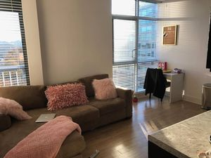 Tan couch, white ikea desk, and gray chair for Sale in Arlington, VA