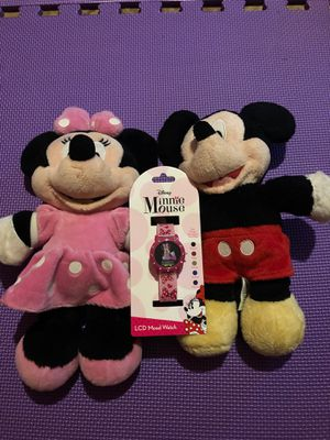 Minnie and Mickey dolls with Minnie watch for Sale in Lilburn, GA