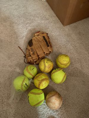 Right handed Glove and collection of 8 softballs for Sale in San Diego, CA