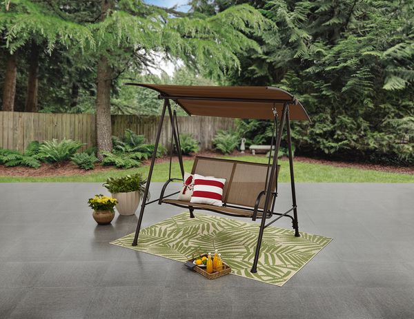 2 Person Canopy Patio Garden Yard Porch Swing Outdoor Furniture Sling Seats Tan