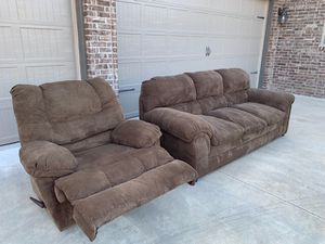 Comfortable couch and Recliner hardly used $450 Brown/tan color. for Sale in Springdale, AR