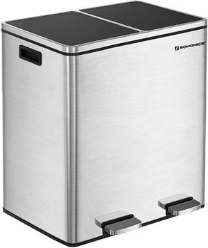 SONGMICS 16 Gallon Step Trash Can, Double Recycle Pedal Bin, 2 x 30L Garbage Bin with Plastic Inner Buckets and Carry Handles, Fingerprint Proof Stai for Sale in San Gabriel, CA