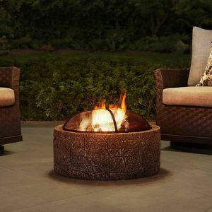 Normandie Stone 26 in. Round Steel Wood Burning Firepit for Sale in Santa Ana, CA