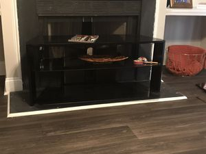 Black Wood and glass tv stand for Sale in Durham, NC