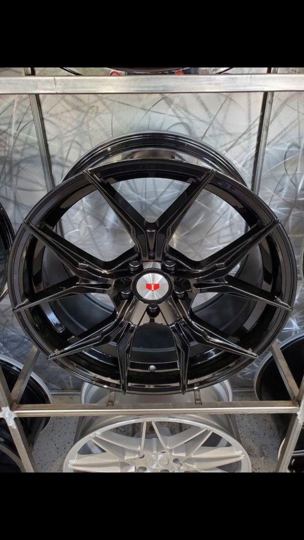 "Glossy black 19"" wheels fits BMW 3 series Cadillac CTS 19x8.5 19x9.5 5x120 +35 rim tire shop"