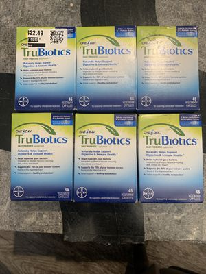 (6) New One A Day TruBiotics Daily Probiotic 45 Capsules Exp 11/20 & 4/21 Look! for Sale in Odessa, TX