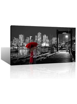 Large Black and White City Night View Red Umbrella Romantic Theme Wall Art Decor Canvas Print for Living Room Bedroom Home Office Framed Artwork Deco for Sale in Corona, CA