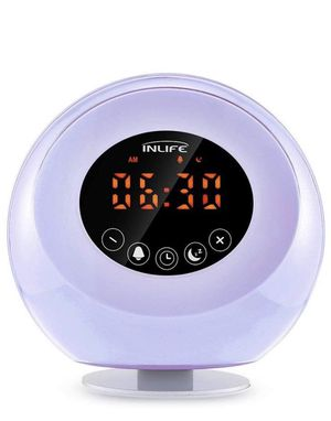 Wake up alarm clock with radio, 6 natural sounds, 3 warm white light mode & 7 colors: warm yellow, red, green, blue, purple, orange, and indigo. for Sale in Virginia Beach, VA