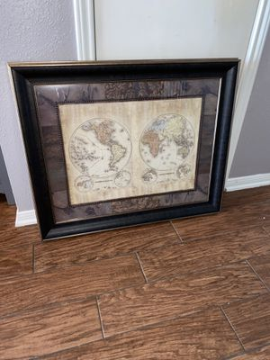 Antique glass framed double globe world map for Sale in Houston, TX