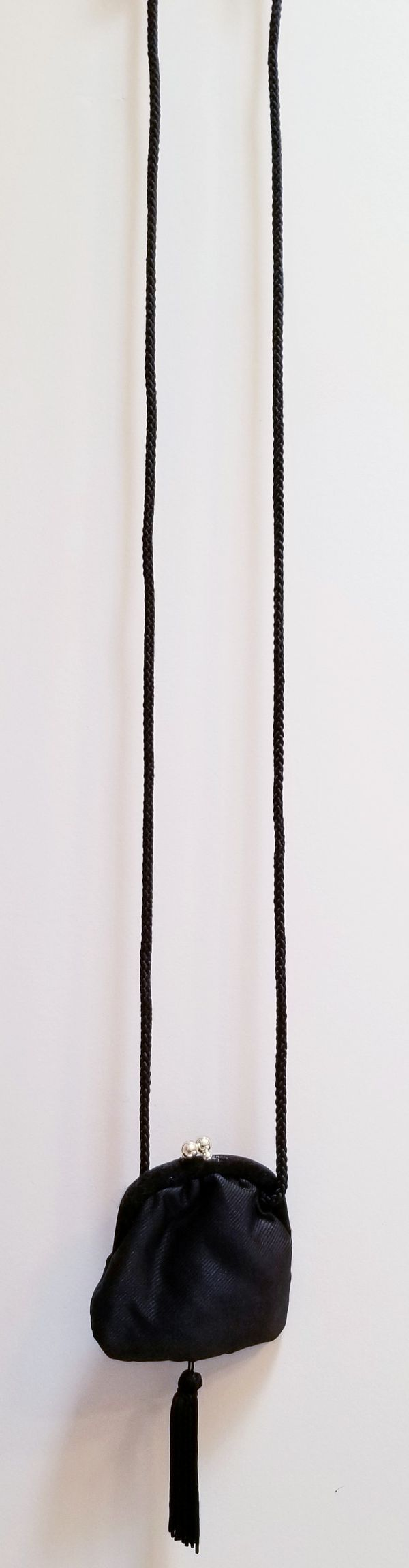 Black long cord small purse