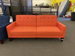 CLEARANCE Gorgeous Orange Linen Porter Sofa Futon with Wooden Legs, Retails $349 for Sale in Houston, TX