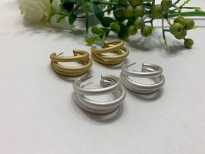 Open Circle C Shaped Geometric Triple Hoop Earring, Gold and Silver Color (2 Sets) for Sale in Tustin, CA