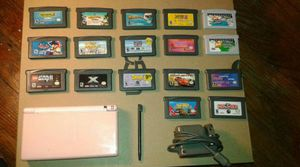 Pink Nintendo DS Lite With Charger, Stylus, 15 Games and 2 TV Cartridges for Sale in Brooklyn Park, MD