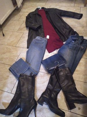 Italian leather trench stiletto heels leather boots jeans and more for Sale in San Bernardino, CA