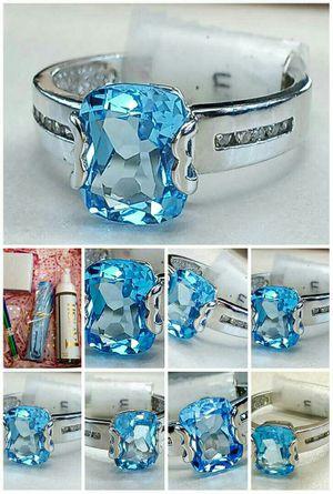 Diamond Blue Topaz white gold ring.new. VISIT SHOWROOM for Sale in Atlanta, GA