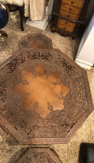 Beautiful antique carved table 4 benches beautiful design for Sale in Rancho Cucamonga, CA