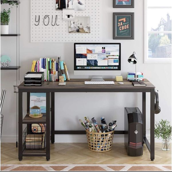 HOMECHO Industrial Computer Desk with 2 Shelves, 55 inch Writing Desk with Storage, Wood Laptop Study Table with Headphone & Cup Holder for Home Offic