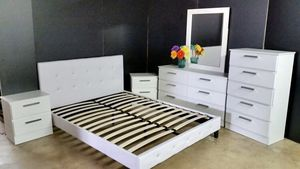 New king set bed frame mirror dresser chest and nightstands mattress is not included for Sale in Port St. Lucie, FL