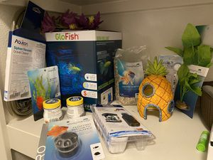 Brand new- Betta Fish Starter Pack (tank, food, thermometer, heater, cleaning supplies, decorations) for Sale in Oakland, CA