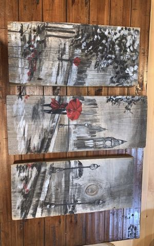 3 panel hand painted wooden painting for Sale in Medford, MA