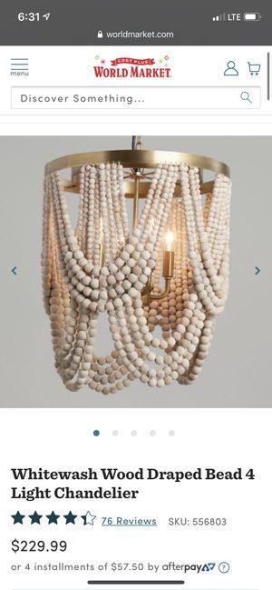 Wood beaded chandelier for Sale in Charleston, SC