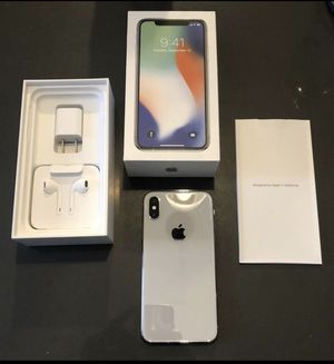 iPhone X Silver 256 GB Unlocked CIB AppleCare and new Pela Case for Sale in Maple Valley, WA