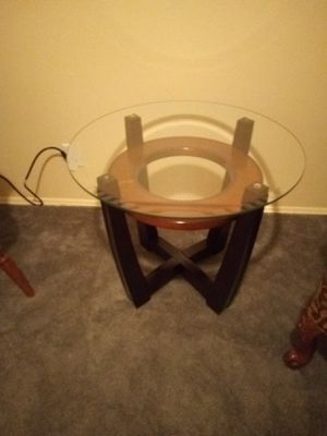Beautiful Glass End Table with Cherry Wood Legs for Sale in City of Industry, CA