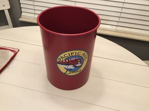"""Pacific Rail Lines Attractive Red Metal 11"""" Kids Waste Basket for Sale in Goodlettsville, TN"""