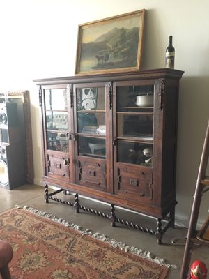 Antique cabinet hutch pantry barley twist for Sale in Austin, TX