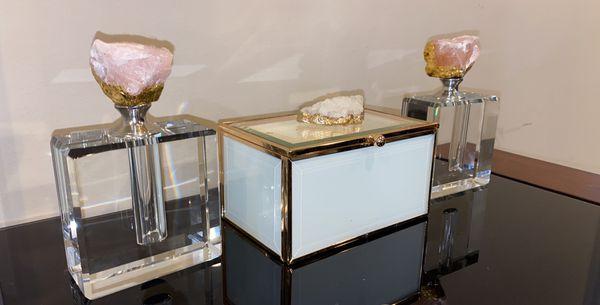 Home decor perfume jewelry box and painting (glam/shabby chic/pink/white)