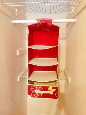 Hanging Closet Organizer Shelves. Red 4 Shelf Closet Storage with 1 Clothes Organizer Drawer for Sale in Chicago, IL