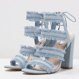 Guess   'Evira' Frayed Light Denim Heeled Sandals- SZ 8 for Sale in Las Vegas, NV