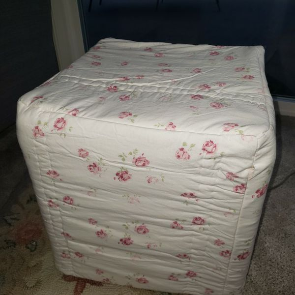 Leather Ottoman Slipcovered, Has Storage
