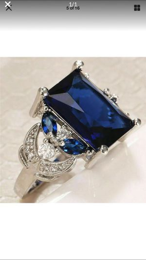 Gorgeous Tanzanite ring 3.5 mm deep blue princess cut with sapphires on 925 silver bsndcsize7 for Sale in Northfield, OH