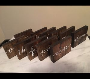 11 Wooden Table Numbers - Eleven piece set for Sale in Chicago, IL