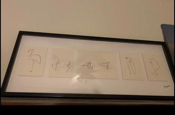 Picasso animal line sketches framed