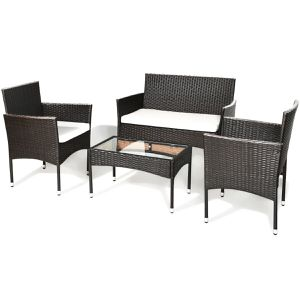 4-piece Outdoor Patio Wicker Table Shelf Sofa Furniture Set With Cushion for Sale in Orlando, FL