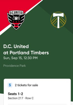 Timbers/DC United tickets Sunday 9/15 for Sale in Portland, OR