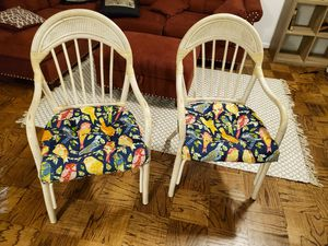 Pair of Glazed Bamboo Wicker Chairs for Sale in Silver Spring, MD