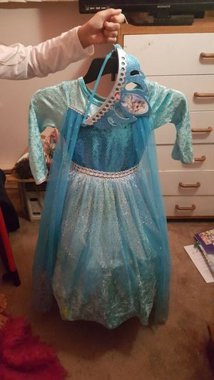 5-6T Princess Elsa dress w/crown for Sale in Portland, OR