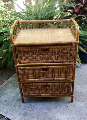 Small brown wicker dresser with shelf for Sale in La Costa, CA