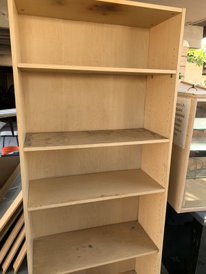 Five tier wood bookshelves. In OK condition just scratches here and there 6 feet tall for Sale in Fontana, CA