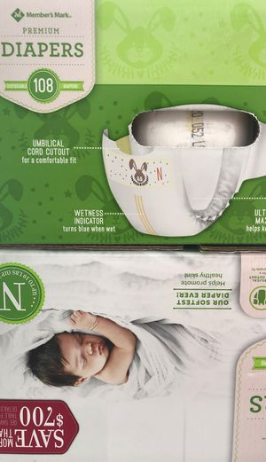 2 boxes of Members mark diapers(NB) for Sale in Germantown, MD