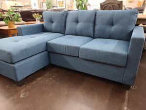 Blue fabric sofa chaise sectional for Sale in Sacramento, CA