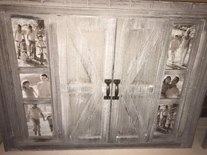 Two sets of beautiful country style picture frames with barm doors that slide and remove to change look quickly selling as a pair never used for Sale in Leominster, MA