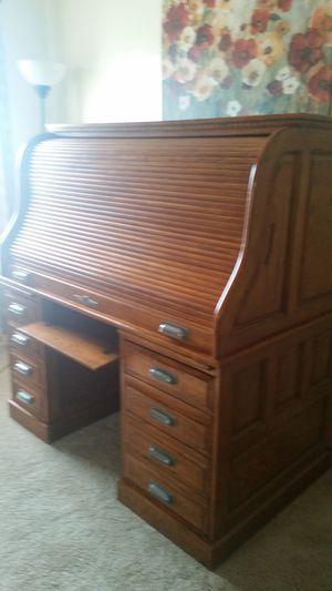 2-pcs Removable Roll-Top Wooden Oak Lawyer Secretary Desk for Sale in Laveen Village, AZ