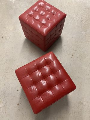 (2) Red Leather like Small Stools for Sale in Fort Lauderdale, FL