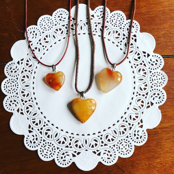 Carnelian Agate Heart Necklaces